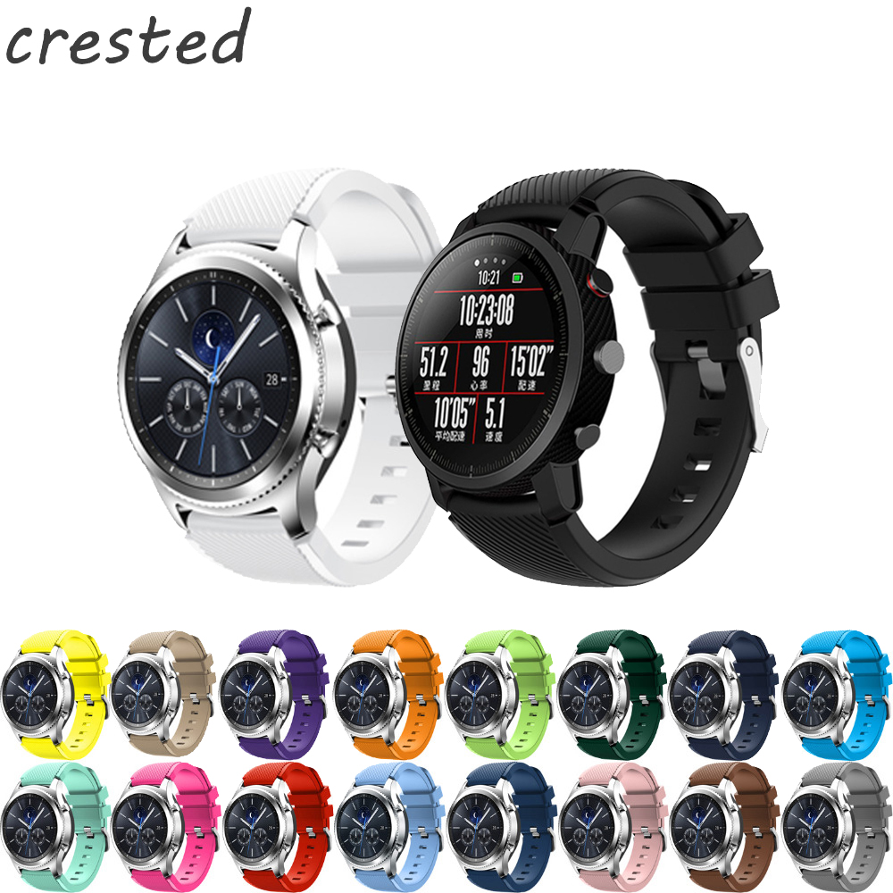 CRESTED 22mm Sports Silicone Watch band For Samsung Gear S3 Frontier/Classic strap for Xiaomi Huami Amazfit Pace/Stratos 2/1 amazfit leather bracelet watch band 22mm for xiaomi huami amazfit pace stratos 2 correa wrist strap for samsung gear frontier s3