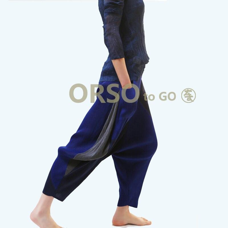 Azterumi specjalne plisy letnia nowy 2019 kobiety na co dzień luźne spodnie Harem spodnie wysokiej talii kostki długość plisowane spodnie czarny niebieski szary w Spodnie i spodnie capri od Odzież damska na  Grupa 3