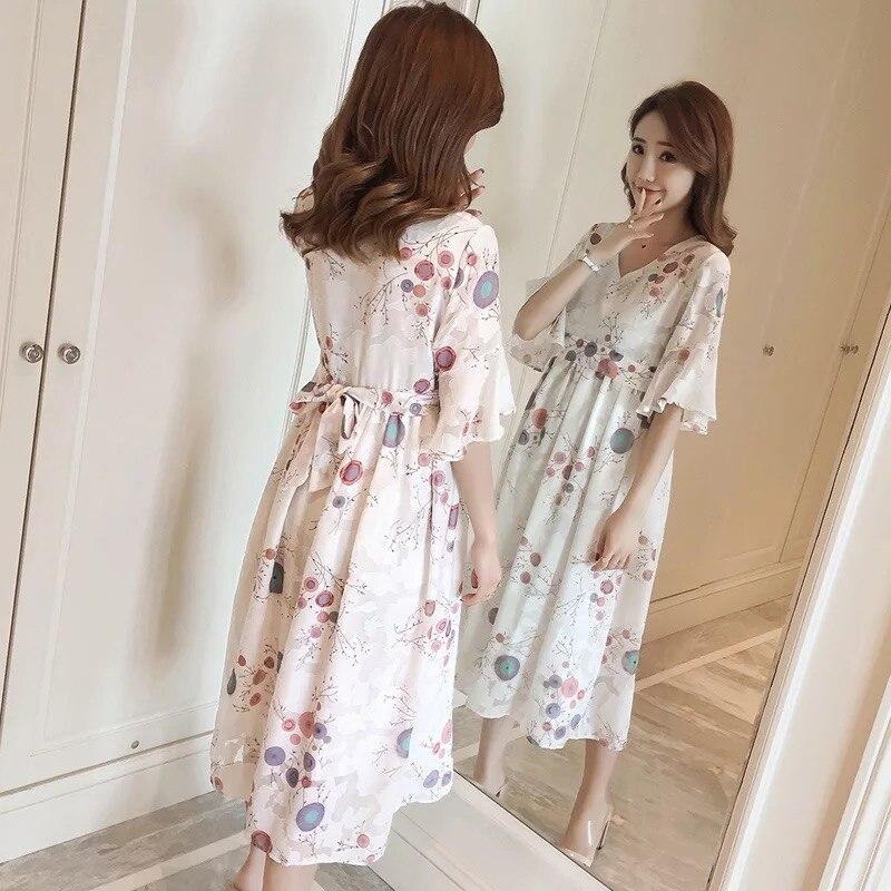 Afeitony 2019 Sommer Chiffon Mode Stillen Kleidung Postpartale Mom Heißer Verkauf Pflege Kleid Mutterschaft Stillzeit Kleider