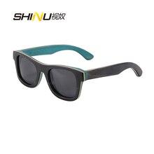 Rein Handgemachte Skateboard Hölzerne Sonnenbrille Gafas Frauen Männer Polarisierte Goggle Outdoor-Sport Sommer Brillen Lentes De Sol 68041