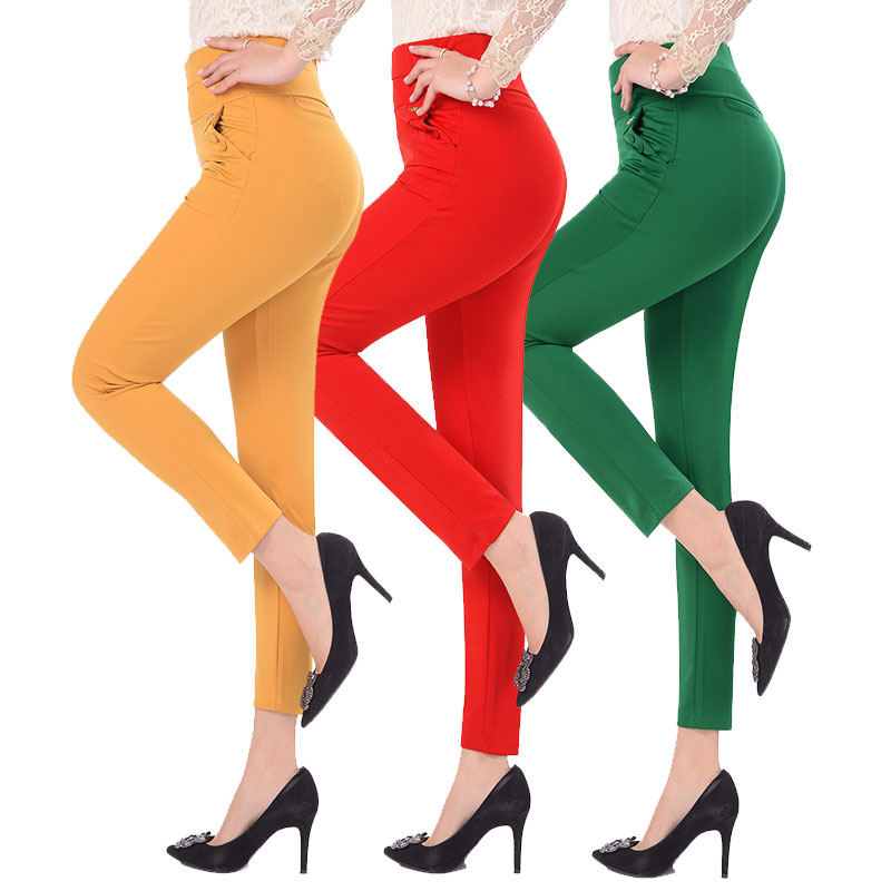 5XL Pants Women Summer Elastic Slim High Waist Pants Female Trousers Women Casual Streetwear Plus Size Office Ladies Pants Q1427