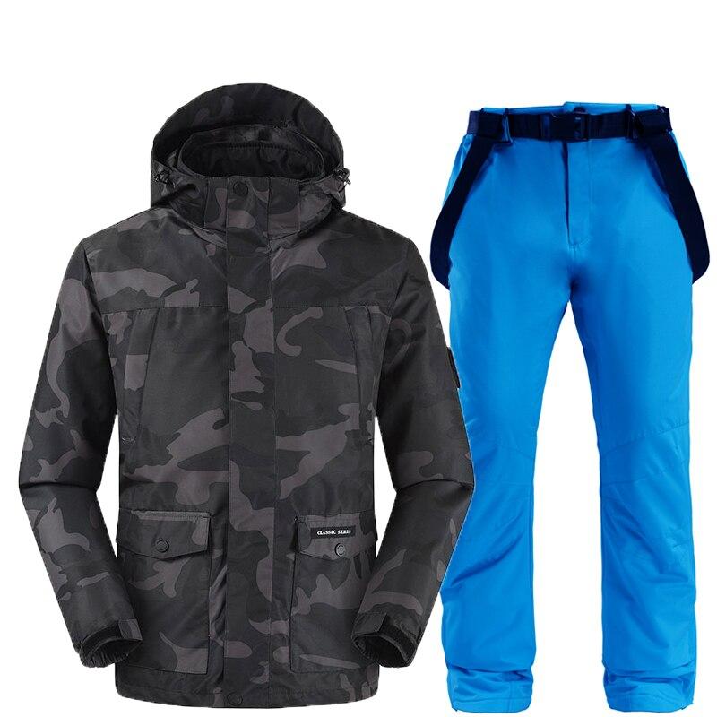Vestes et pantalons de ski hommes combinaison de ski ensembles de snowboard très chaud coupe-vent imperméable neige vêtements d'hiver en plein air - 4