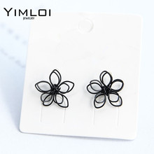 Elegant Charming Small Gold Ball Black Plum Flower Double Sides Dangle Earring Prom Wedding Pressent E326