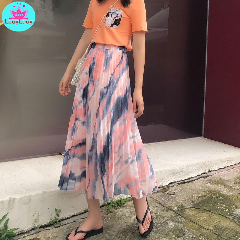 2019 Summer Korean Fashion New Women's High Waist Gradient Chiffon Bohemian Holiday Skirt Pleated  Print  Office Lady