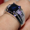 Handmade Stainless Steel Oblong Created Sapphire Blue Stone Wedding Ring for Men Women