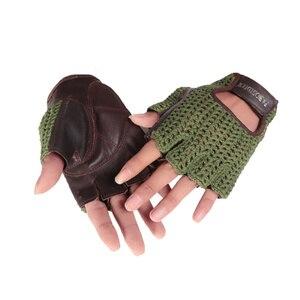 Image 3 - Gants en cuir véritable pour hommes et femmes, demi doigts, accessoires tricotés à la main, de conduite, de sport de plein air, A088