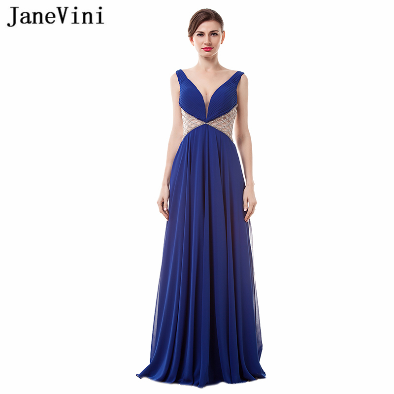 JaneVini Chiffon Royal Blue Sexy Deep V Neck   Bridesmaid     Dresses   A Line Beading High Split Backless Floor Length Prom Party Gowns