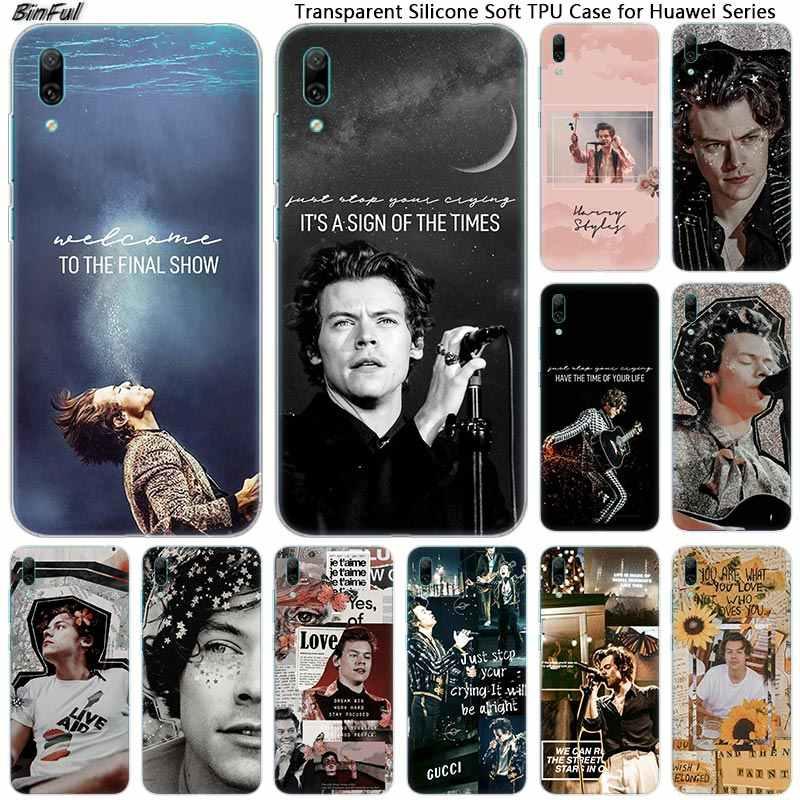 歌手ハリー · スタイルを一方向シリコン電話ケース huawei 社メイト 10 20 Lite プロ 9 S Y9 Y7 y6 Y5 2019 2018 プロ 2017 ホット