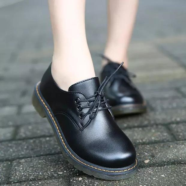 black brown women cosplay casual faux leather martin shoes round toe work safe autumn winter leisure oxfords loafers derby shoes
