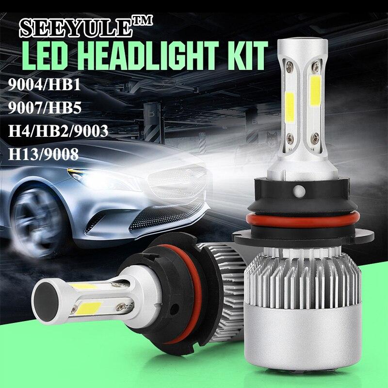 1 pair SEEYULE New S2 6000K 8000LM Car LED Light Bulbs Headlights Headlamp 9004/HB1 9007/HB5 H13/9008 H4/HB2/9003 Hi/Lo Beam