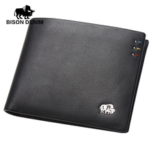 BISON DENIM Business casual wallet Men top Layer Genuine leather purses men short Wallets silver metal Logo N4411-3B