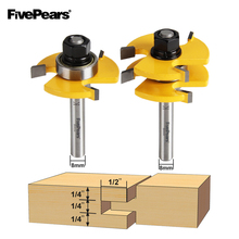 2pc/set 8mm Shank Tongue And Groove Joint Assembly Router Bit Set 3/4 Stock Wood Cutting Tool FivePears