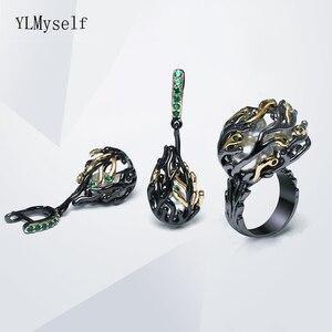 Image 3 - Şube tasarım küpe yüzükler 2 adet set düzensiz takı siyah altın plaka beyaz inci yeşil kristal büyük kokteyl küpe yüzük setleri