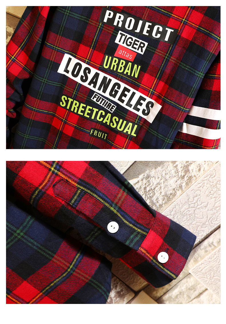 Checker shirt, long sleeve Korean version spring fashion workwear, handsome casual shirt, jacket, Hong Kong style shirt 40