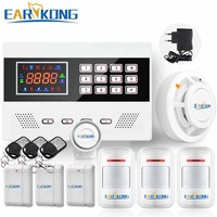 GSM Alarm System Russian English Spanish French Portuguese Polish Smoke Detector Door Open Motion Sensor 433MHz