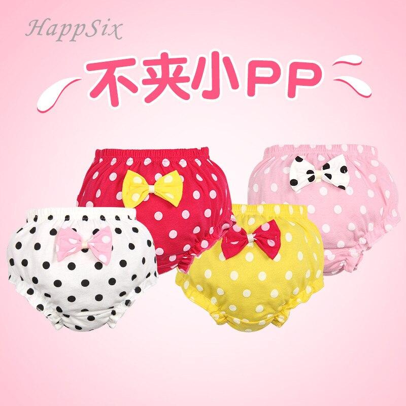 4Pieces/lot Baby Underwear Girls Cotton Cute Bowknot Dot Pink Girl Clothes Underpanties 0-2Years Todder Newborn Baby Underwear