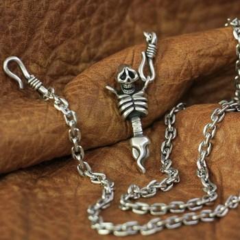 "LINSION 925 Sterling Silver Upper Body Skull Mens Pendant Silver Necklace 23"" TA139"