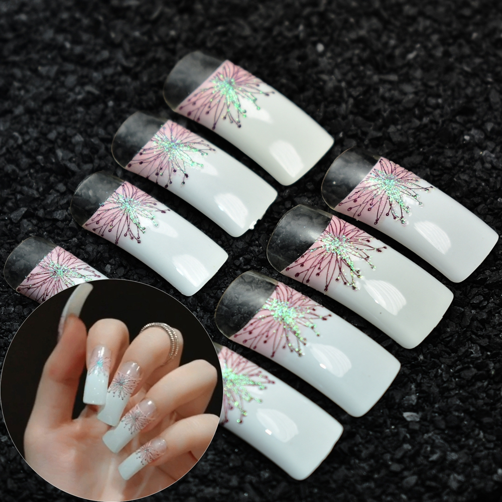 24Pcs Pre designed Fake Nails Super Long Clear French Nails Holo ...