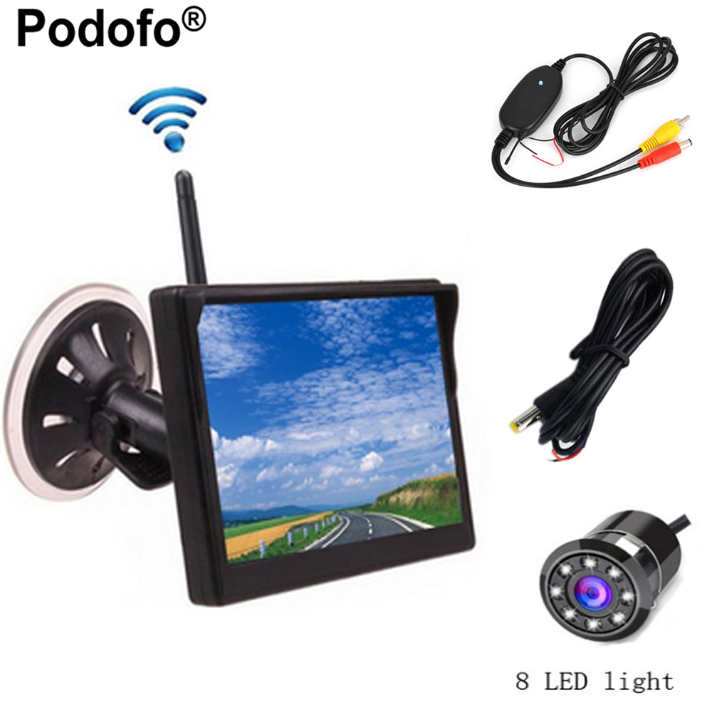 Podofo Wireless 5 TFT Color Car Rear View Monitor In-Dash Display + Night Vision Waterproof Reverse Backup Camera Parking Kit 16 colors x vented outdoor playing quad line stunt kite 4 lines beach flying sport kite with 25m line 2pcs handles