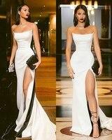 Elegant Off the Shoulder Party Gown Satin Sexy Prom Dress White High Slit Plus Size Prom Dresses 2019 Long vestidos de festa