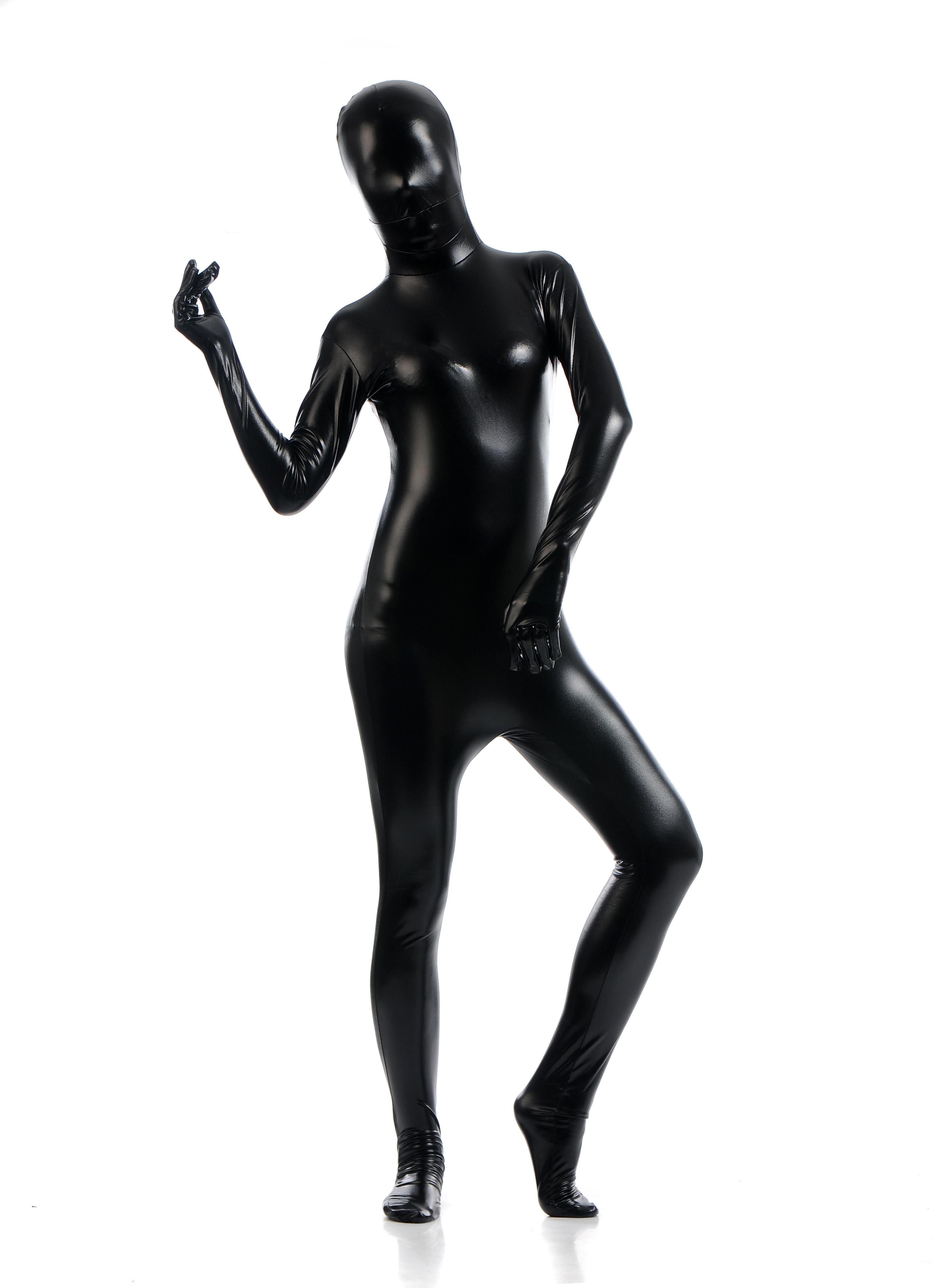 Women Full Body Tight Costume One-piece Head Cover Catsuit Performance Bodysuit