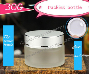 free shipping 100pcs 30g frosted glass jars, 30ml skin care cream bottles, 1 fl oz glass cosmetic containers