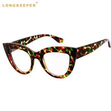 2018 New Cat Eye Glasses Sexy Striped Retro Fashion Women Ladies Eyewear Frame Clear Lens Vintage Eyewear LongKeeper