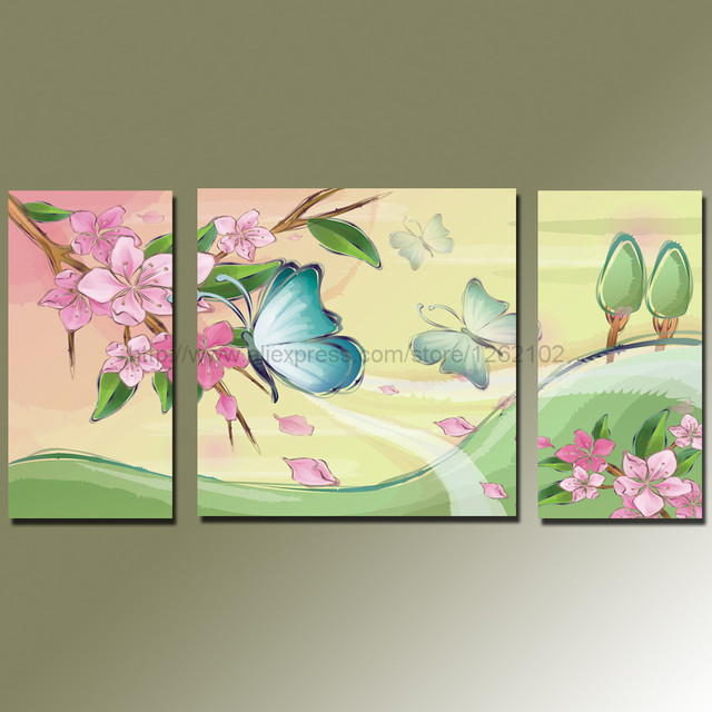 New Arrival! Blooming Peach Flowers with Butterfly Art Painting ...