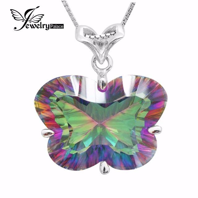 BORBOLETA Côncavo Natural Rainbow Fogo Místico Topaz Pingente Charme Genuine Sólido 925 Sterling Silver Para Mulheres 2016 Nova Moda