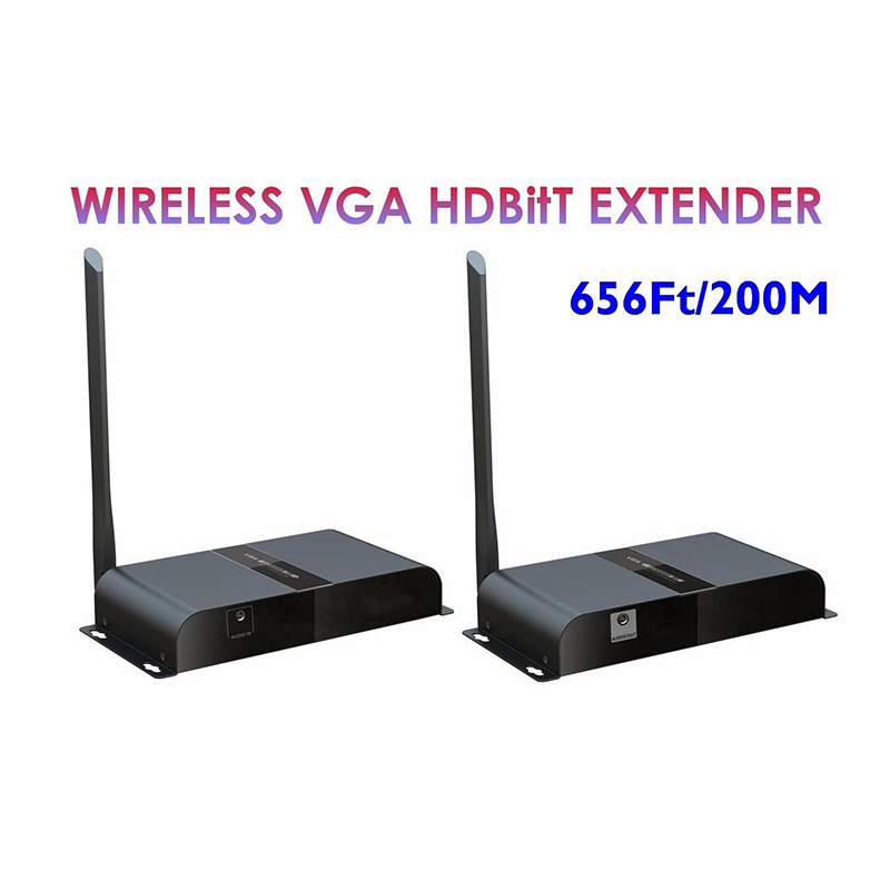 LKV388VGA Wireless VGA Extender 656Ft /200M, Wireless HDbitT VGA over IP Extender Converter with Audio Tx & Rx 1080P 120m 150m 200m h 264 hdmi over tcp ip extender with 20 60 khz ir