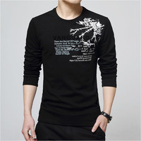 2016 New Korean Style Autumn Clothes Casual Men S O Neck T Shirt Letter Printing Long