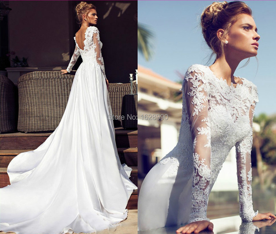 Modest a line long sleeves satin lace bridal gowns open for Lace wedding dresses open back