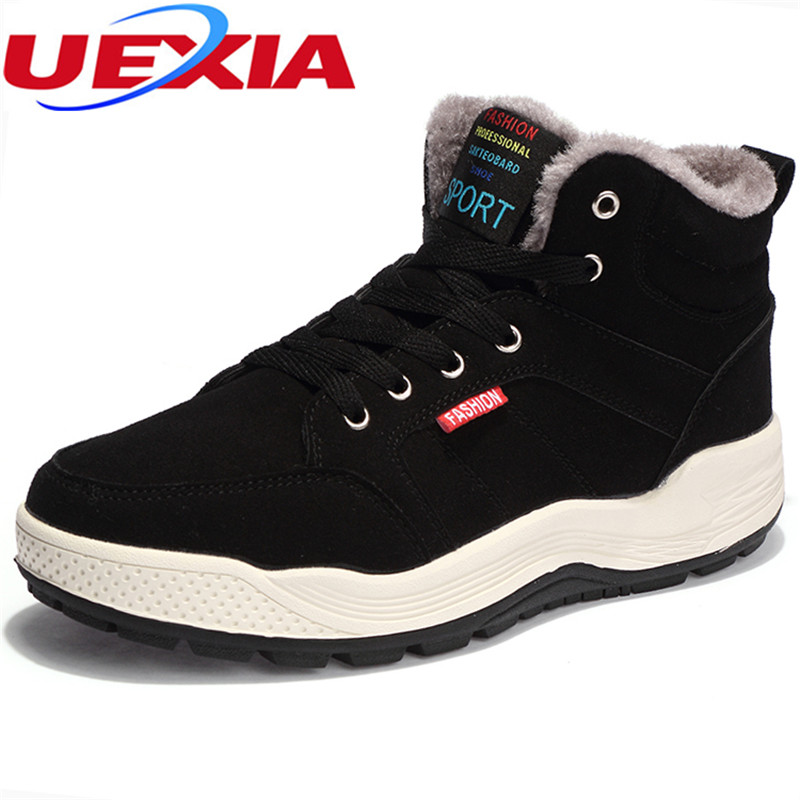 UEXIA Warm Men Winter Rubber Snow Boots Casual Men With Fur Men Work Footwear Fashion Ankle Russian Design Leisure Plush Bottes chilenxas autumn warm winter leather footwear shoes men casual new fashion ankle boots breathable light hard wearing anti odor