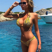2019 Sexy bikini leopard Women swimsuit Brazilian Bikini Set Green Print Halter Top Beach wear Bathing Suits cupshe bikin