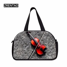 ZRENTAO 3D guitar printed large capacity mommy bags high quality for traveling casual weekend with shoes pockets