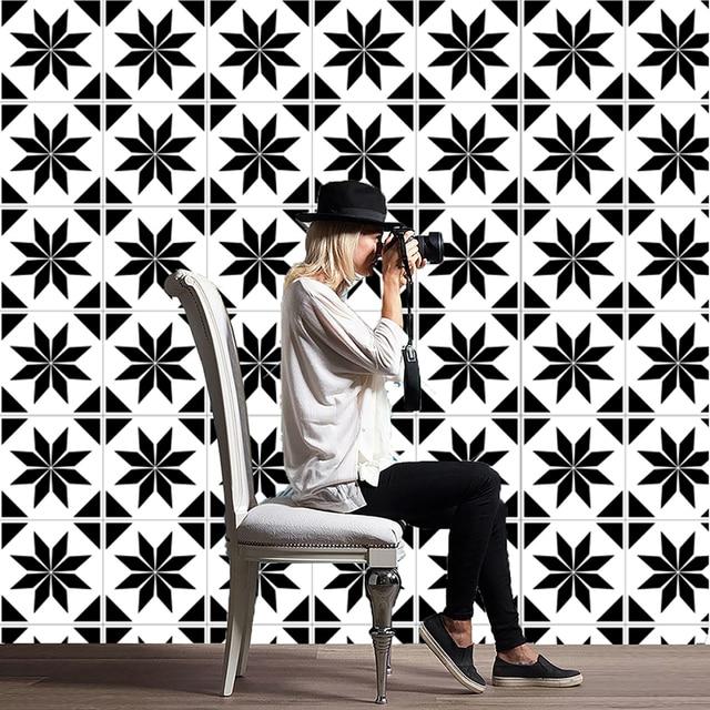 20 Stücke Mediterranen Stil Retro Schwarz Weiß Fliesen Aufkleber Badezimmer  Wohnzimmer Wasserdichte PVC Wandaufkleber Küche Wandtattoos