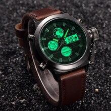 Мужские кварцевые спортивные военные армейские светодиодный часы, аналоговые наручные часы из нержавеющей стали, мужские наручные часы, вечерние часы с украшением, деловые часы