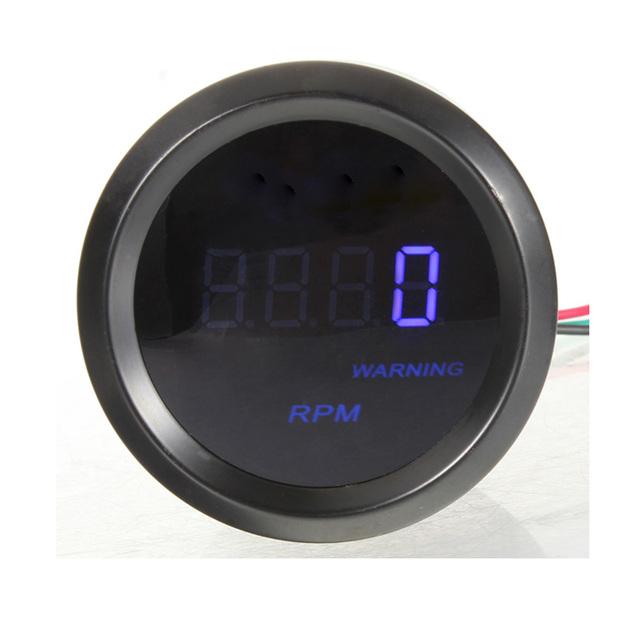 Tacho Universal 2 de polegada 52mm Auto Carro Azul Digital LED Tacômetro Indicador RPM Medidor De Preto/Branco
