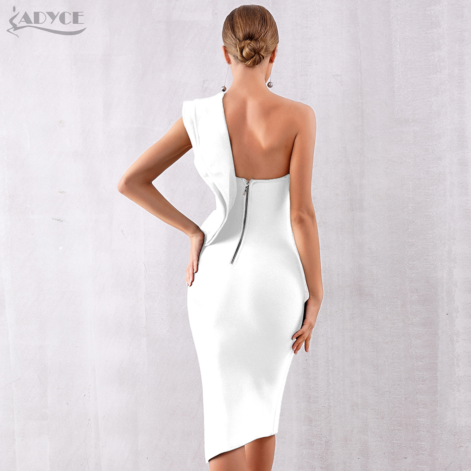 Image 3 - ADYCE 2019 New Summer Women Bandage Dress Sexy One Shoulder Ruffles Bodycon Club Dresses Vestidos Celebrity Evening Party Dress-in Dresses from Women's Clothing