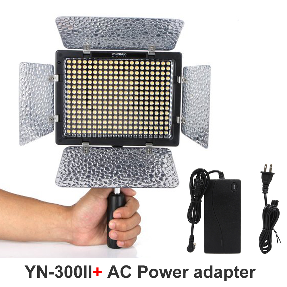YONGNUO YN300 II YN-300II 3200K-5500K LED Camera Video Light For Canon Nikon Pentax Olympus Panasonic Camera + AC adapter