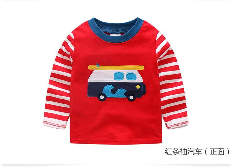 2018 Spring Autumn For 2-9 10 Years Children Cotton Striped Patchwork Cartoon Car Bus Truck Baby Kids Boys Long Sleeve T Shirts (51)