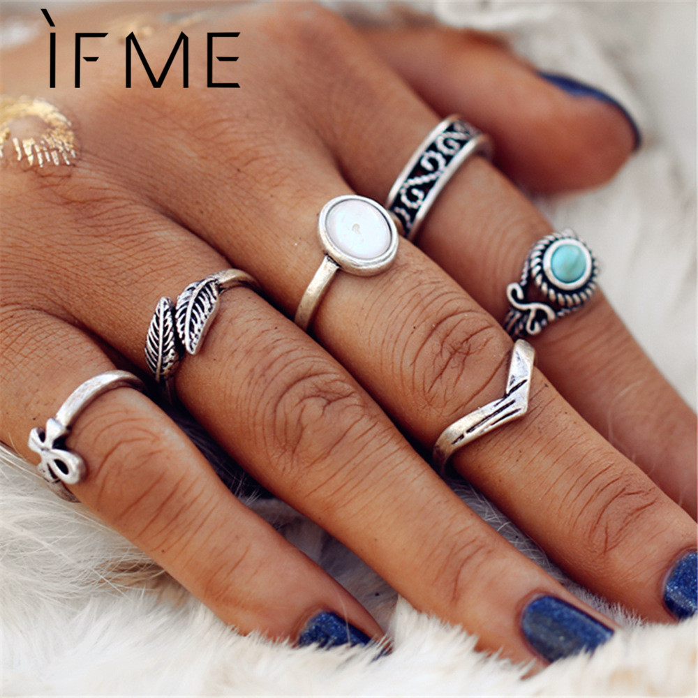 IF ME Bohemian Ring Sets for Women Vintage Silver Color Leaf Cross Shape Opal Blue Stone Punk Finger Midi Knuckle Rings Jewelry