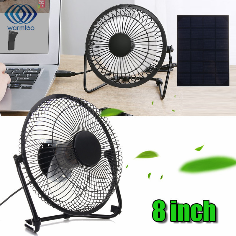 USB 5W Iron Fan 8Inch Cooling Ventilation Car Cooling Fan+ Black Solar Panel Powered for Outdoor Traveling Fishing Home Office delta 12038 12v cooling fan afb1212ehe afb1212he afb1212hhe afb1212le afb1212she afb1212vhe afb1212me