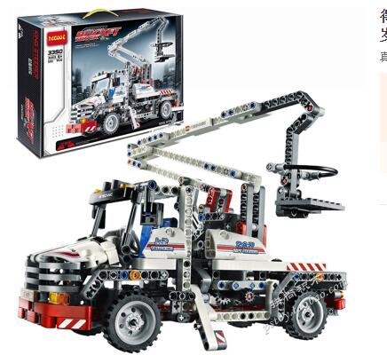 ФОТО free shipping Jack aerial ladder Science and Technology Series assembled building blocks of the construction site crane boy toys