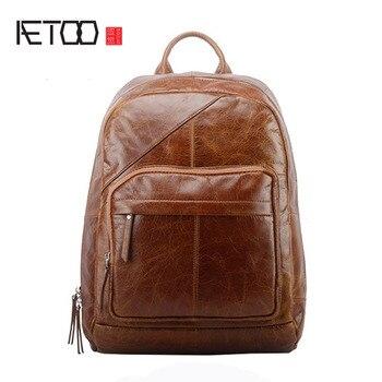 AETOO Men's leather shoulder bag new vintage travel first layer oil wax leather shoulder computer backpack