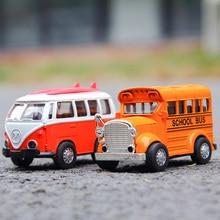1:36 Pull back Car model Metal Diecast Vehicles Music light Retro Car School bus car toy For Kids Classic & Antique Cars models