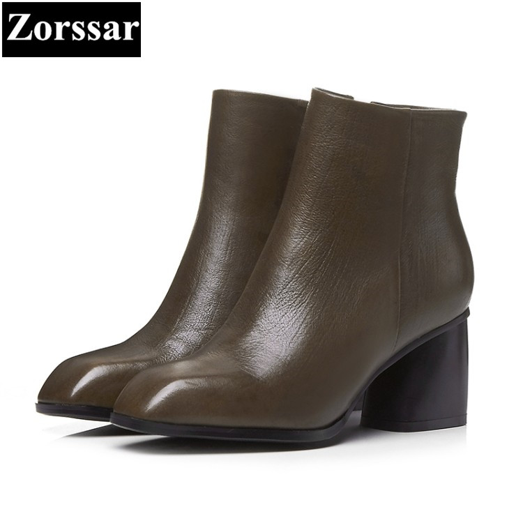 {Zorssar}2018 NEW arrival Large size Women Boots High heels Square Toe thick heel ankle Riding boots cowhide womens shoes winter zorssar brands 2018 new arrival fashion women shoes thick heel zipper ankle chelsea boots square toe high heels womens boots