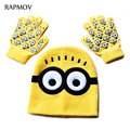 Hot ! Children's Cap + gloves Hat Winter Cartoon Minions Spiderman Glove Hats Sets Fashion Kids child Warm Knitted Caps Gloves