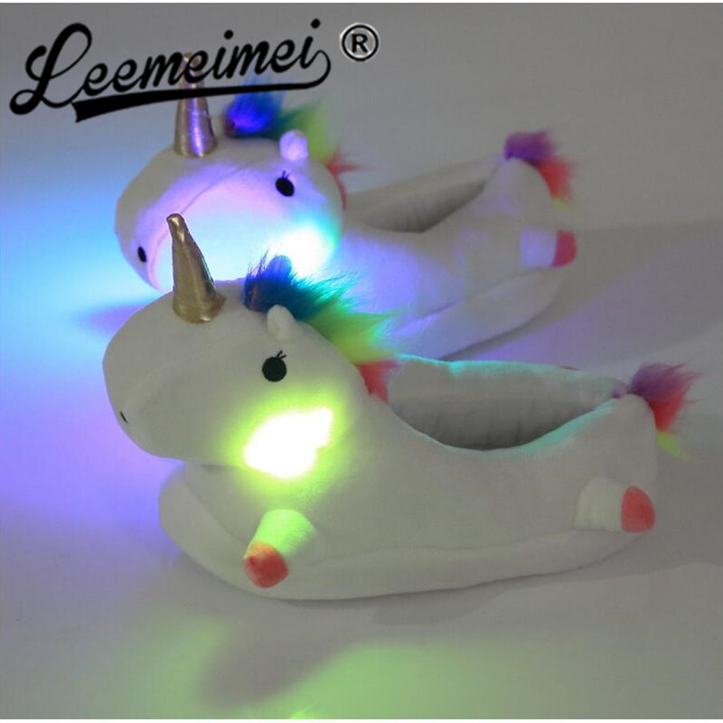 Winter Led Light Plush Unicorn Slippers Warm Women Indoor Shoes Cute Funny Adult Slippers Flat Zapatillas Woman Flip Flops multicolor optional cheap funny unicorn slippers women