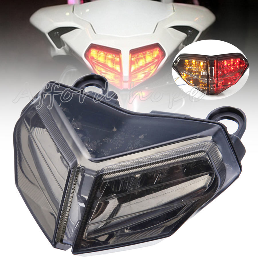 For Ducati 848 08-2012 Motorcycle Integrated LED Brake Stop Lamp Smoke Lens Rear+Turn Signal Brake Tail Light Free Shipping